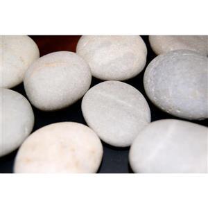 Roches décoratives pour foyer, basalte, 900 g, blanc