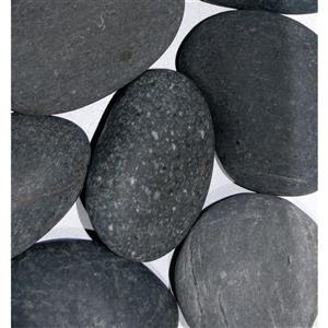 Roches décoratives pour foyer, basalte, 900 g, gris argent