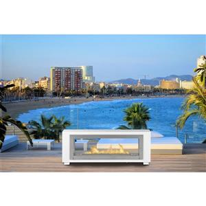 Santa Cruz 2-Sided Fireplace - Stainless Steel - Gloss White