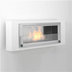 Santa Lucia Wall Mounted Ethanol Fireplace - Gloss White