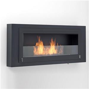 Eco-Feu Santa Lucia Black 54-in x 7.88-in Wall Mounted Ethanol Fireplace