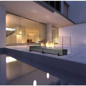Foyer éthanol Vision II, acier inoxydable, noir mat