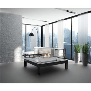 Vision I Freestanding Fireplace - Stainless Steel - Ice Gray