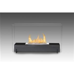 Eco-Feu Vision I Black 28.75-in x 10.25-in Freestanding Stainless Steel Fireplace