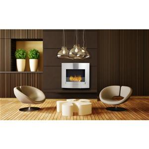Wynn Wall Mounted Ethanol Fireplace - Stainless - Ice Gray