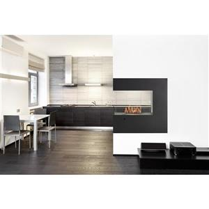 Eco-Feu Paramount Black 35.88-in x 13.81-in 3-Sided Freestanding Fireplace