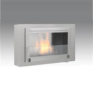 Eco-Feu Montreal 41.75-in x 7.88-in Wall Mounted Ethanol Stainless Steel Fireplace