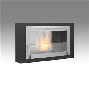 Montreal Wall Mounted Fireplace - Matt Black/Steel Interior