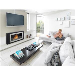 Eco-Feu Montreal Black 41.75-in x 7.88-in Wall Mounted Fireplace