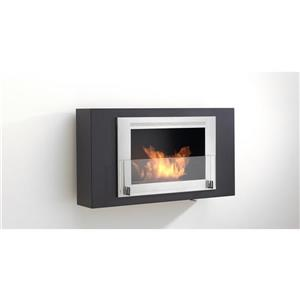 Brooklyn Wall Mounted Fireplace - Matte Black/Gray Moldings
