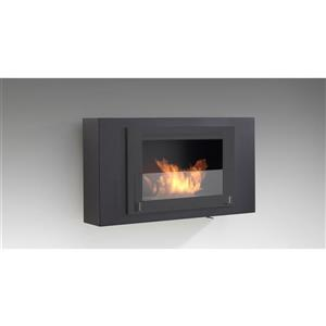 Brooklyn Wall Mounted Fireplace - Steel - Matte Black