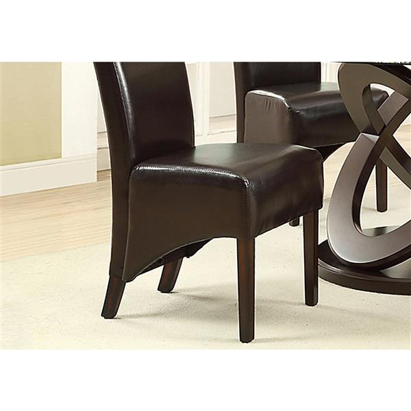 Monarch  Brown Faux Leather Dining Chair (Set of 2)