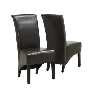 Monarch Specialties Brown Faux Leather Dining Chair (Set of 2)