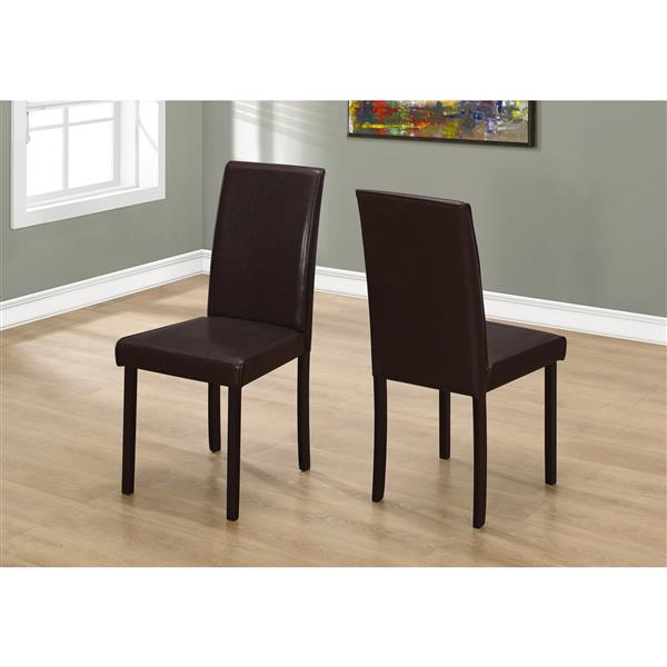 Monarch  Dark Brown Faux Leather Dining Chair (Set of 2)