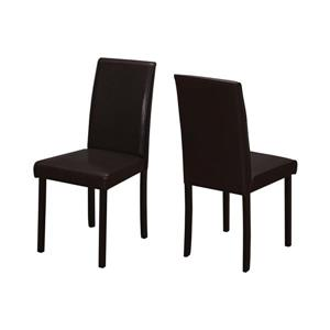 Monarch Specialties Dark Brown Faux Leather Dining Chair (Set of 2)