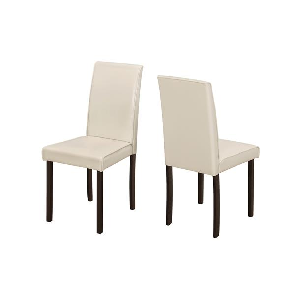 Monarch  Ivory Faux Leather Dining Chair (Set of 2)