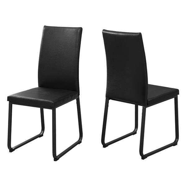 Monarch  Black Faux Leather Dining Chair (Set of 2)