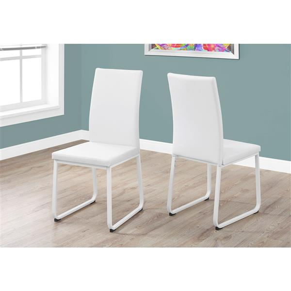 Monarch  Off-White Faux Leather Dining Chair (Set of 2)