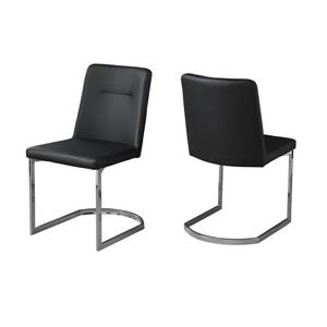 Monarch  Black Faux Leather Contemporary Dining Chair (Set of 2)