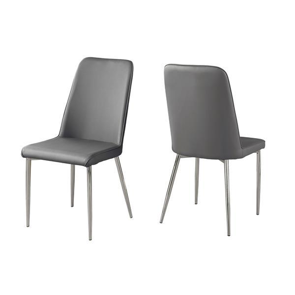 """Chaises de cuisine Monarch, 37"""", gris , ens. de 2"""