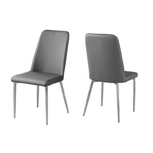 Monarch Specialties Grey Faux Leather Dining Chair (Set of 2)