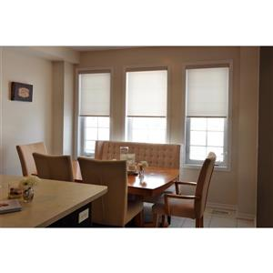 Sun Glow Motorized Privacy Roller Shade with Valance 56-in x 72-in Off-White
