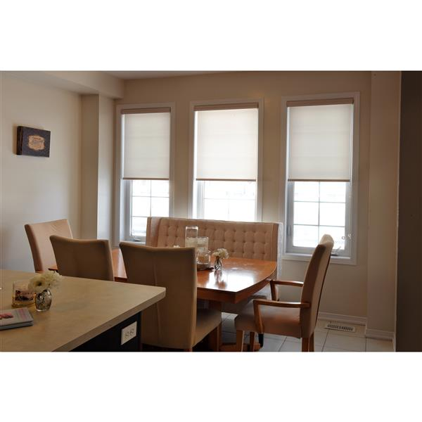 Sun Glow Motorized Privacy Roller Shade with Valance 36-in x 72-in Off-White