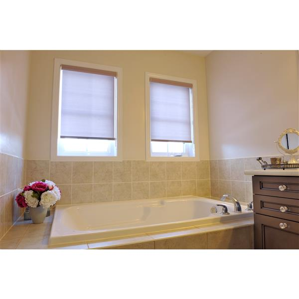 Sun Glow Motorized Privacy Roller Shade with Valance 34-in x 72-in Brown