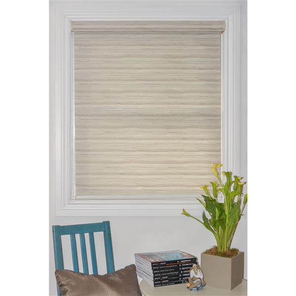 Sun Glow 65-in x 72-in Motorized Textured Off-White Roller Shade with Valance