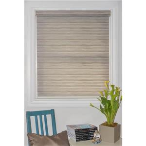 Sun Glow 71-in x 72-in Classic Motorized Textured Brown Roller Shade With Valance