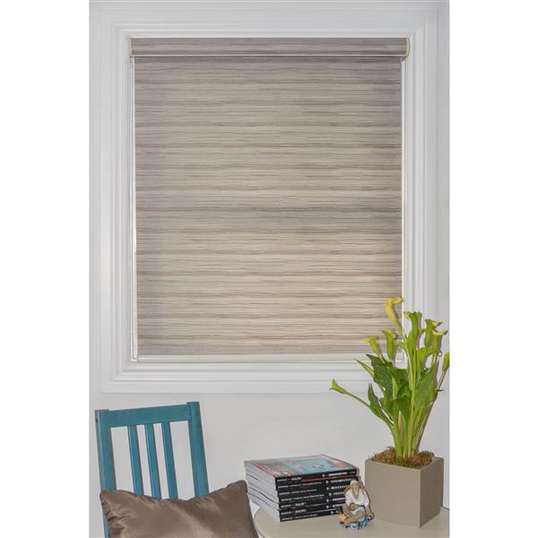 Sun Glow 65-in x 72-in Motorized Textured Brown Roller Shade with Valance