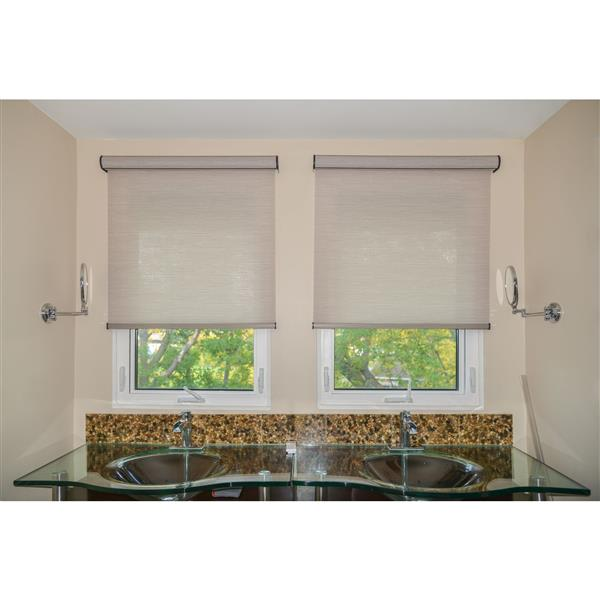 Sun Glow 53-in x 72-in Brown Chainless Woven Roller Shade With Valance