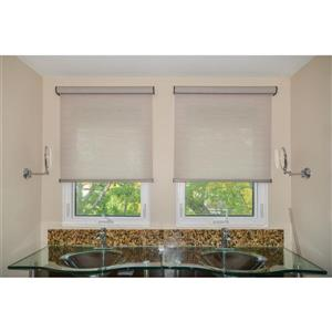 Sun Glow 36-in X 72-in Brown Chainless Woven Roller Shade With Valance