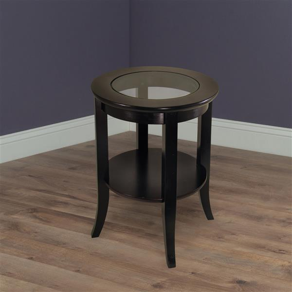 Winsome Wood Genoa 18.47-in x 18.47-in x 22.56-in Espresso Wood Table
