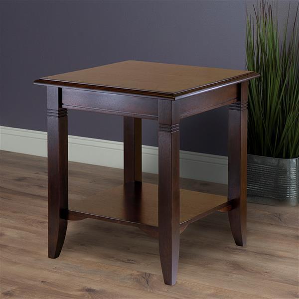 """Table Nolan, 20"""" x 21,97"""", bois, noyer"""