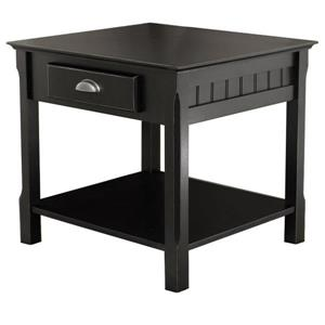 "Table Timber, 21,97"" x 21,97"", bois, noir"