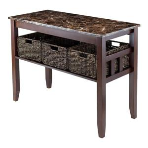 Zoey 47.55-in x 40-in Chocolate Marble Table