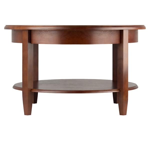 Winsome Wood Concord 30-in x 18-in Antique Walnut Round Coffee Table
