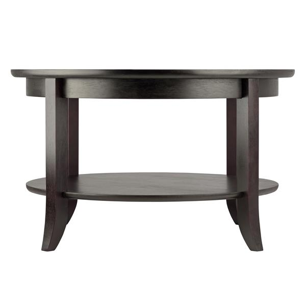 Winsome Wood Genoa Round Coffee Table 29.33- in x 18.7- in With Black Metal Frame and Clear Glass Top