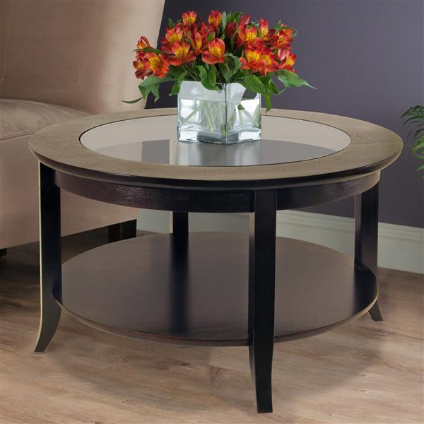 Table à café Genoa en bois noir, 29,33 po x 18,7 po