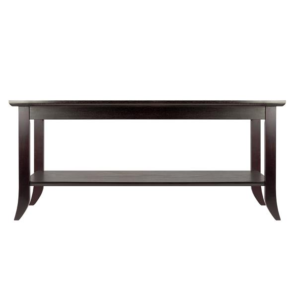 Winsome Wood Genoa Rectangular Coffee Table 20- in x 37- in x 18.03- in With Walnut Wood Frame and Clear Glass Top