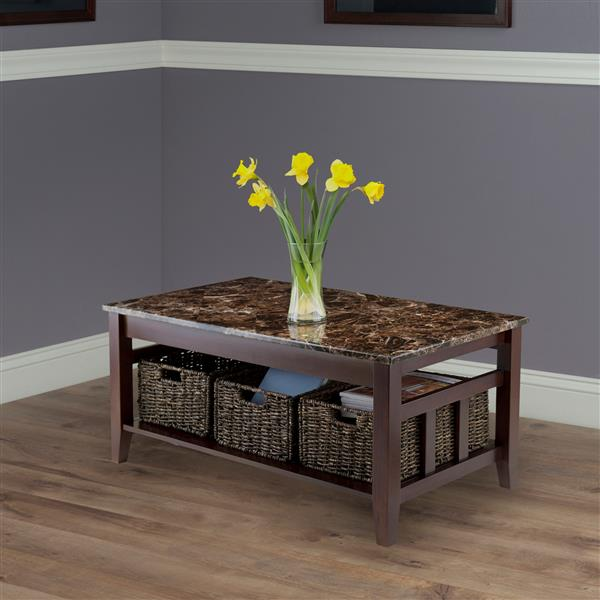 """Winsome Wood Zoey 40""""L Rectangular Coffee Table With Dark Chocolate Frame, Faux Earth Tone Marble Top, and 3 Woven Baskets"""