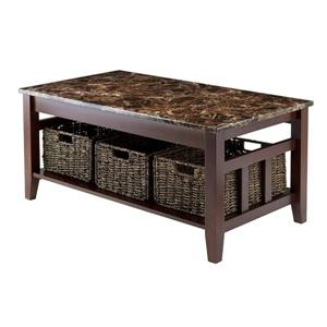 "Winsome Wood Zoey 40""L Rectangular Coffee Table With Dark Chocolate Frame, Faux Earth Tone Marble Top, and 3 Woven Baskets"