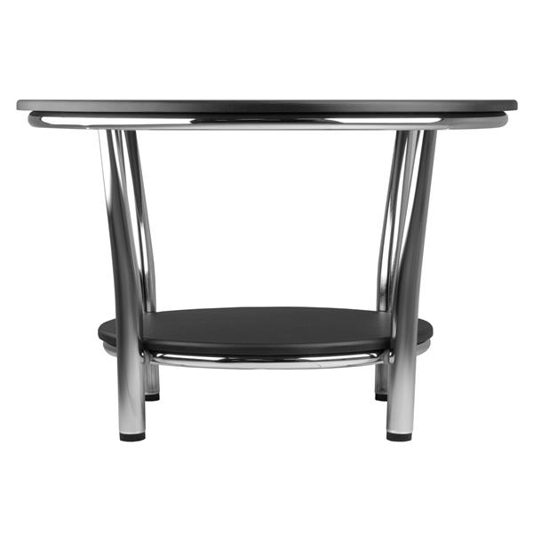 Winsome Wood Maya 40- in x 18- in With Polished Steel Legs and Dark Espresso Top/ Shelf Round Coffee Table