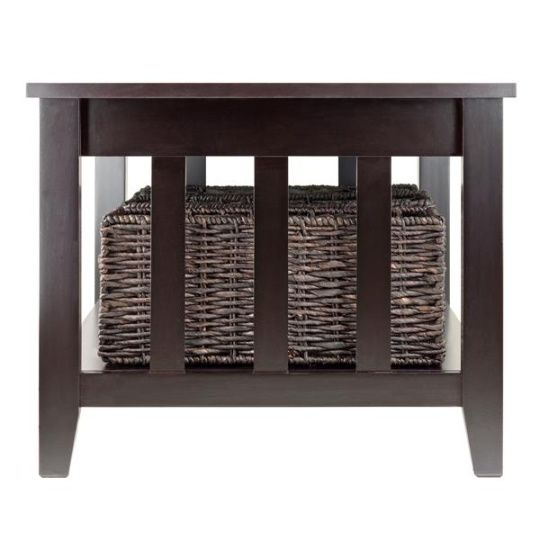 Winsome Wood Morris 30-in x 18.03-in With 3 Fold-able Baskets In Dark Espresso Finish Rectangular Coffee Table