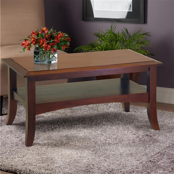 Winsome Wood Craftsman 37-in x 21.02-in x 18.03-in Cappuccino Rectangular Coffee Table
