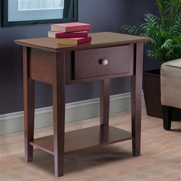 Winsome Wood Shaker 22.05-in x 25-in Walnut Wood Table