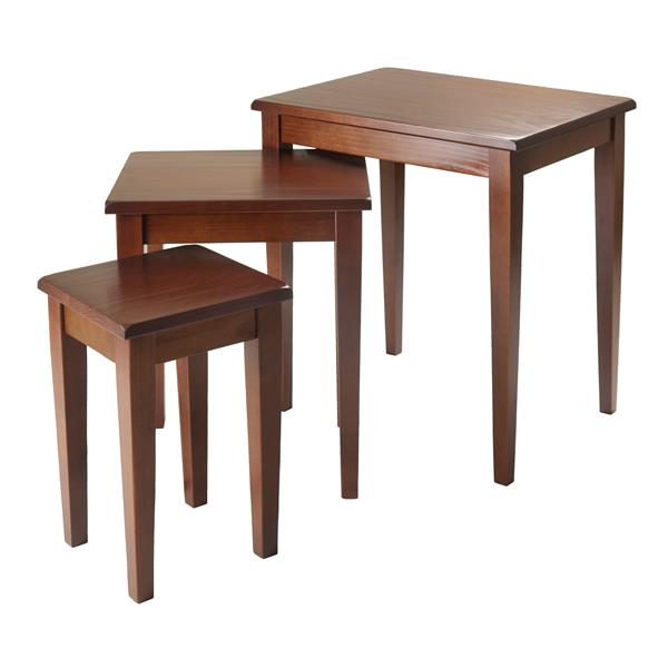 Winsome Wood Regalia 20-in x 21.6-in Walnut Wood Table