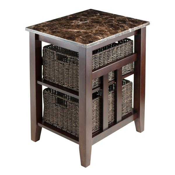 Winsome Wood Zoey 16.54-in x 25.04-in Chocolate Wood Table