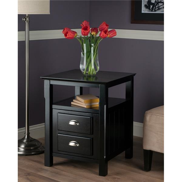Winsome Wood Timber 20-in x 25-in Black Wood Table